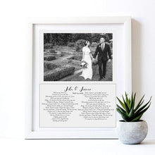 Load image into Gallery viewer, Custom Lyric feamed wall art print for wedding anniversary gift, First Dance Song Lyrics personalized with your wedding photograph