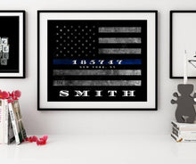 Load image into Gallery viewer, Custom Personalized Thin Blue Line American Flag framed wall art for police officer gift , Police officer gifts, Police retirement gift