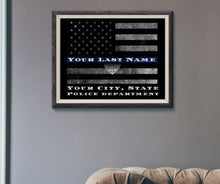 Load image into Gallery viewer, Customized Thin blue line flag, Police officer retirement gift, Police officer gift, Thin Blue Line flag, Personalized print, Police Sign