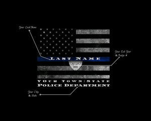 Custom Personalized Thin Blue Line American Flag framed wall art for police officer gift , Police officer gifts, Police retirement gift