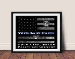 Thin Blue Line, Police officer gift, Framed gift, Police Wife, Police Mom, Framed retirement gift, Police academy, police officer gifts
