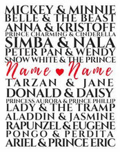 Load image into Gallery viewer, Custom disney art print, Disney, Anniversary gift, gift for her, CUSTOM Disney Couples Sign, Custom Wedding Gift, Romantic Disney, Disney fa