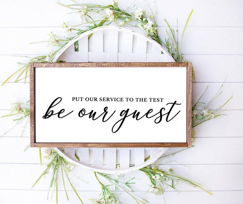 Be our guest sign, Guest room decor, Wood sign, wood frame, home wall decor, farmhouse decor, farmhouse sign, Poster, Art, Home decor