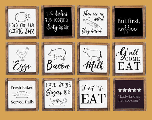 Personalized Kitchen signs Wall Art , 6x6 inch personalized farmhouse signs for wall art, rustic barn wood signs home decor, kitchen funny