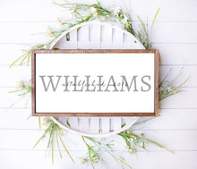 Load image into Gallery viewer, Family Name Long Barnwood Framed Wall Art, Custom Farmhouse decor for home decor, Rustic Home Decor, Housewarming Gift, Kitchen Decor