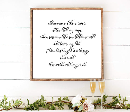 It is Well with My Soul , framed wall art, wood sign, wood frame, home wall decor, farmhouse decor, farmhouse sign, Poster, Art, Home decor