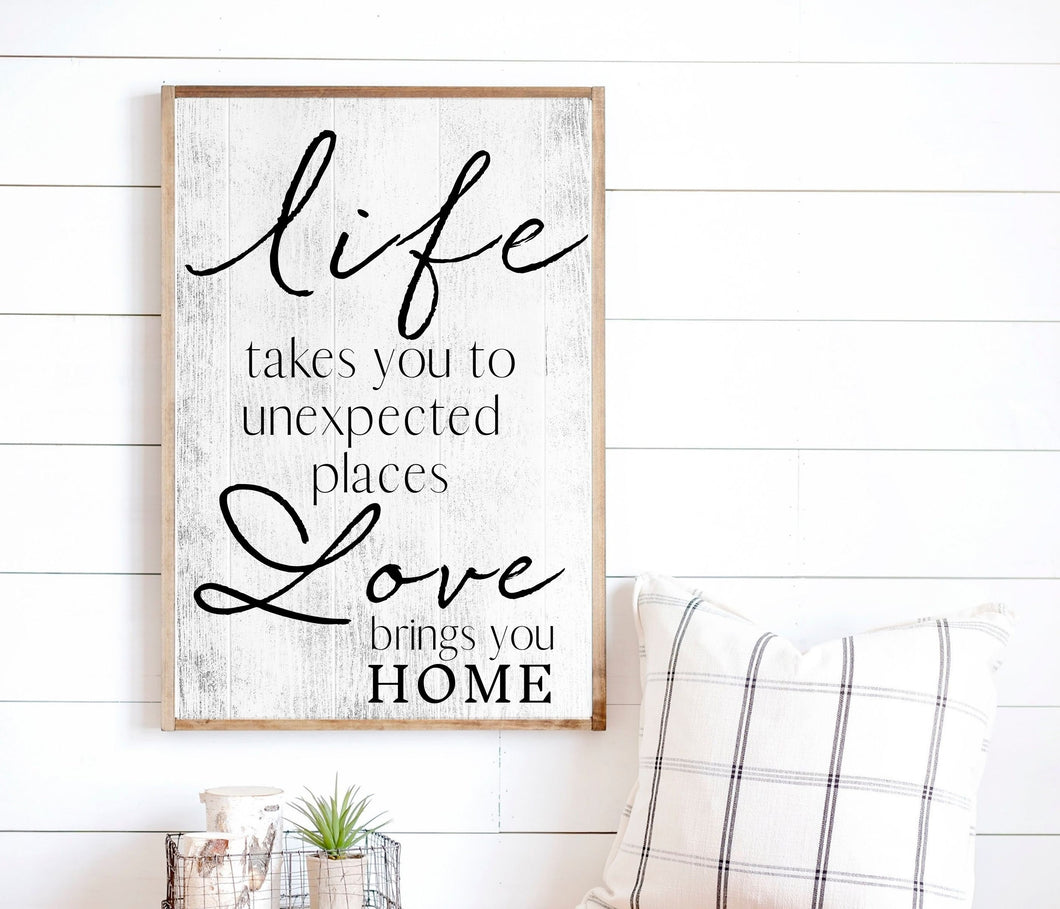 Life Love Rustic farmhouse decor wood sign for home decor