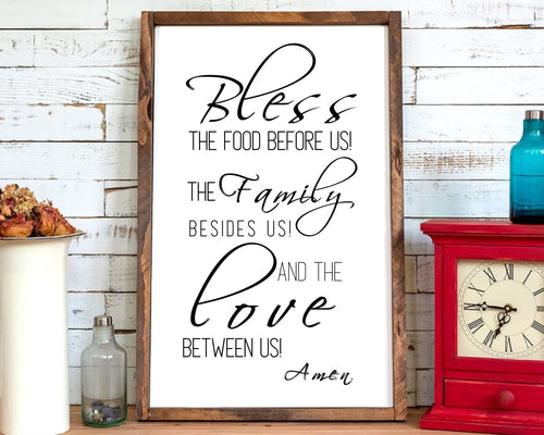 Bless the food before us | kitchen wall decor | rustic wood sign | dining room sign | farmhouse sign | Wood sign | Farmhouse decor