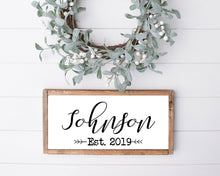 Load image into Gallery viewer, Wood sign | last name sign | family name sign | wedding gift | housewarming gift | established wood sign | family name established sign