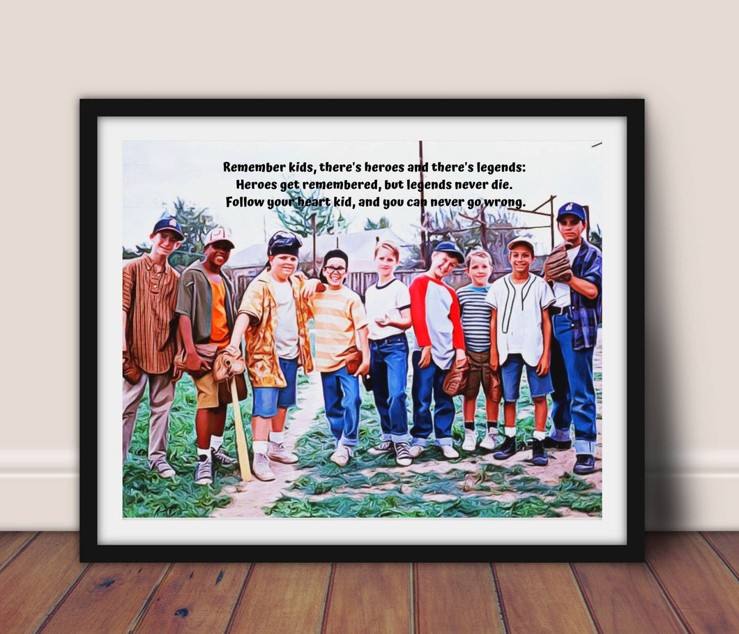 Sandlot movie poster, Inspirational Sandlot Movie quote, Baseball gift, Sandlot, Movie poster, wall art framed, Ledge