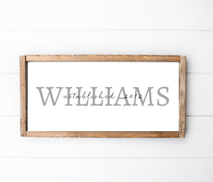 Family Name Long Barnwood Framed Wall Art, Custom Farmhouse decor for home decor, Rustic Home Decor, Housewarming Gift, Kitchen Decor