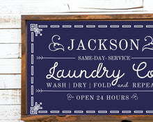 Load image into Gallery viewer, Laundry room wood sign Personalized wall art,  Rustic Wood Laundry Room Sign, Wash Dry Fold Laundry Sign, Laundry room signs, Laundry sign