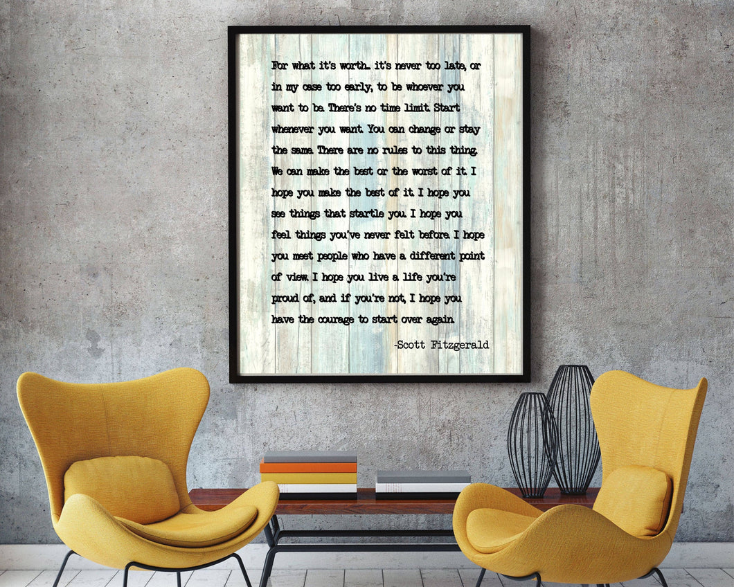 F Scott Fitzgerald Quote, For What It's Worth,Inspirational courage print, F Scott Fitzgerald, inspirational print, inspirational gift