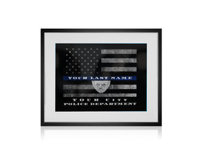 Customized Thin blue line flag, Police officer retirement gift, Police officer gift, Thin Blue Line flag, Personalized print, Police Sign