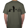 Basic Tee - 2 Lives Saved Unisex (OD Green)
