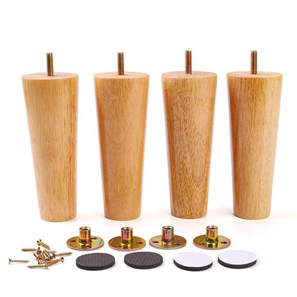 Furniture Legs Solid Wood Sofa Replacement Leg for Coffee Table Cabinet M8 with Iron Plate Sofa Table Cupboard Feet Set of 4