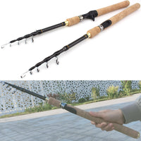 1.8m 2.1m 2.4m 2.7m Spinning Fishing Rod M power Hard Telescopic Carbon Fiber Travel pole wooden handle
