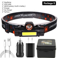 Sensor XP-G Q5 Headlamp Head Lamp Headlight Waterproof 2500lm Cob Led Built in Usb Rechargeable 18650 Battery Working Light 5w