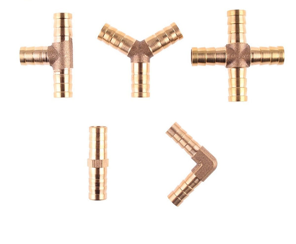 Brass Barb Pipe Fitting Straight Elbow T Y X Shape 2 3 4 Way Connector for 6mm to 19mm 8mm 10mm 14mm 16mm 19mm Copper Water Tube
