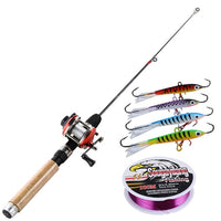 Fishing Rod Set 67cm  Ice Rod with Mini 3 Color Trolling Reel  Shrimp Winter Fishing Lure Line Combo