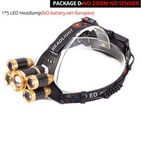 Powerful LED Headlight headlamp 5LED T6 Head Lamp 8000lumens Flashlight Torch head light 18650 battery Best For Camping, fishing