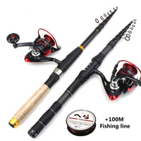 1.8m 2.1m 2.4m 2.7m 3.0m Carbon Fiber Telescopic Fishing Rod Portable Spinning Rod and Spinning Reels Multifunction set