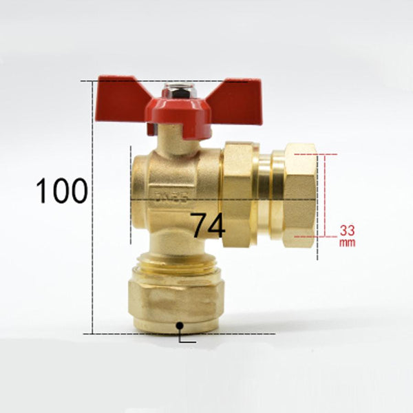 "DN25 G 1"" BSPP Female Fit 20/25mm ID/OD PEX Tube None Brass Angle Ball Valve With Red Handle For Water Mainfold"