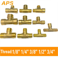 "APS Tee Type Brass Pipe Fitting Male  Female Thread 3 Way 1/8"" 1/4"" 3/8"" 1/2"" BSP  Copper Fittings Water Oil Gas Adapter"