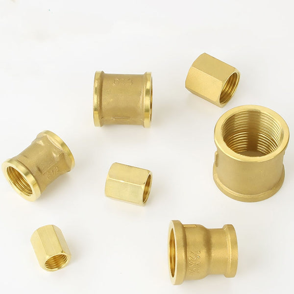 "1/8"" 1/4"" 3/8"" 1/2"" 3/4"" 1"" BSPP Female Brass Coulper Equal Reducer Pipe Fitting Connector Adapter Water Fuel Gas Oil"