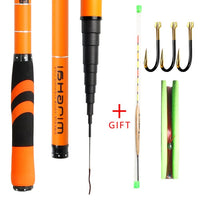 Carbon Fiber Telescopic Fishing Rod Pesca Stream Hand Pole Carp Ultralight Super hard Travel 3.6/4.5/5.4/6.3/7.2M