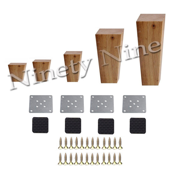 Hight 6-15cm Wooden Furniture Cabinet Leg Right Angle Trapezoid Feet Replacement for Sofa Table Bed Set of 4