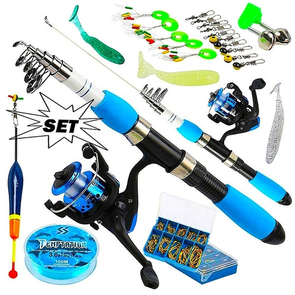 Fishing Rod Full Kits with Telescopic Fishing Rod and Spinning Reel Baits Hooks Saltwater Freshwater Travel Pole Set