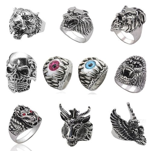 Punk Skull Vintage Tiger Ring For Men Steampunk Retro Hollow Stainless Steel Rings Gothic Male Jewelry Hip Hop Dropshipping 2019