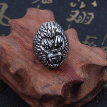 Load image into Gallery viewer, Punk Skull Vintage Tiger Ring For Men Steampunk Retro Hollow Stainless Steel Rings Gothic Male Jewelry Hip Hop Dropshipping 2019