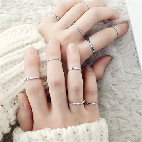 10PCS/SET 2019 Simple Rings ,Gold & Silver Color