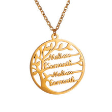 Load image into Gallery viewer, Personalized Tree Of Life Custom Name Necklace Stainless Steel Golden Family Tree Women Letter Necklace Jewelry Couple Gifts