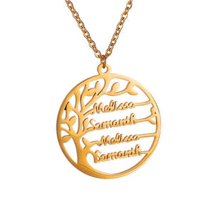 Personalized Tree Of Life Custom Name Necklace Stainless Steel Golden Family Tree Women Letter Necklace Jewelry Couple Gifts