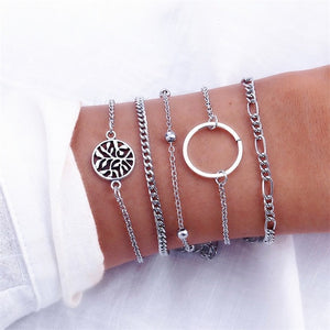 4 Pcs/set Women's Crystal Chain Gold Bracelet