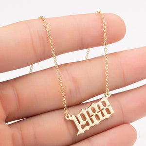 Women Personalized Necklace Special Date Year Number Necklace  girl1994 1995 1996 1997 1998 1999 from 1980 to 2002 chain Jewelry