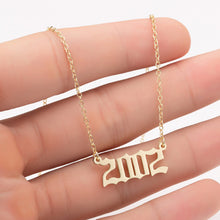 Load image into Gallery viewer, Women Personalized Necklace Special Date Year Number Necklace  girl1994 1995 1996 1997 1998 1999 from 1980 to 2002 chain Jewelry