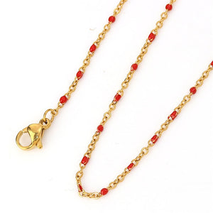1 PC Stainless Steel. Necklace Gold Enamel