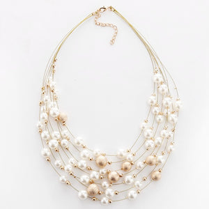 KMVEXO 2018 New Fashion Jewelry Gold Color Multi Layer Chains Imitation Pearl Necklaces For Women Party Wedding Bride Necklace