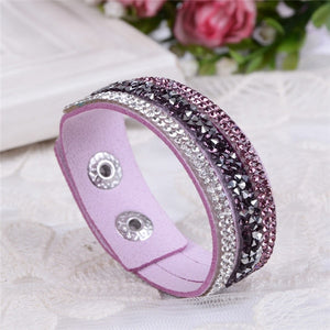 New Leather Punk Crystal Rhinestone Bracelet