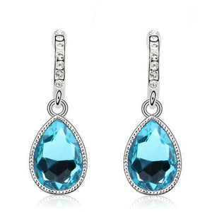 Silver Plated Crystal long Earrings