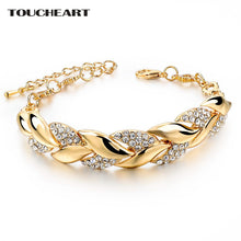 Load image into Gallery viewer, TOUCHEART Braided Gold color Leaf Bracelets & Bangles With Stones Luxury Crystal Bracelets For Women Wedding Jewelry Sbr140296