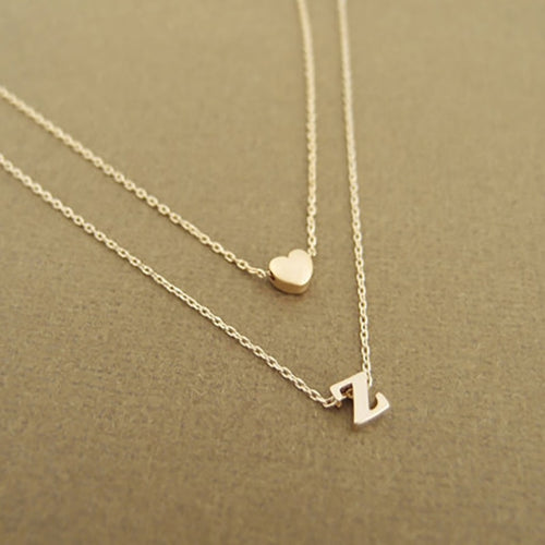 Tiny Heart Initial Double layer Necklace, 26 Letter Name