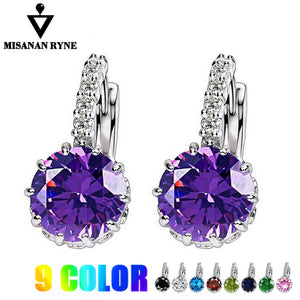 MISANANRYNE Silver-color CZ Zircon Drop Earring For Women Fashion Wedding Earrings 9 Colors Jewelry Brincos Pendientes