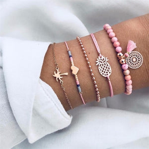 Round Stone Fashion Bracelet Set Europe and America