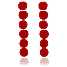 Load image into Gallery viewer, Elegant Red Black Plush Ball Earring /Pearl Long Earring
