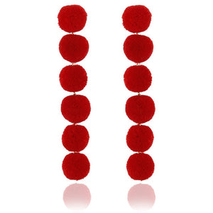 Elegant Red Black Plush Ball Earring /Pearl Long Earring
